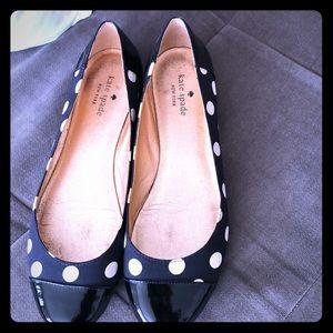 Kate Spade size 9 Black and white polkadot flat.